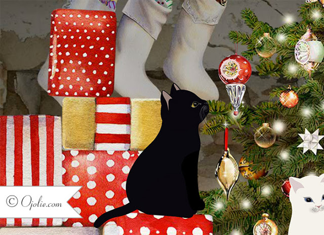 Three kittens Christmas ecard Ojolie